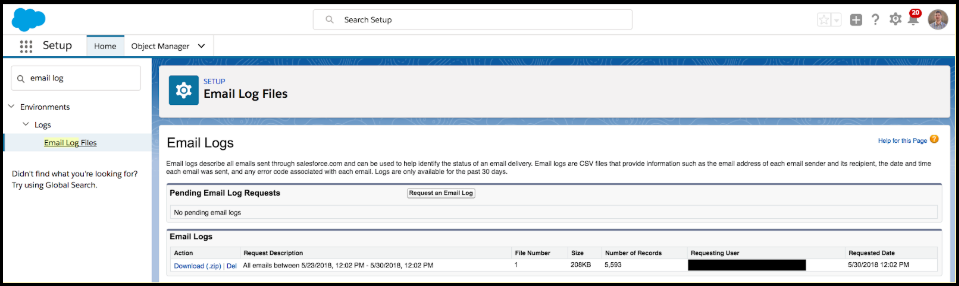 Requesting Salesforce Email Logs.