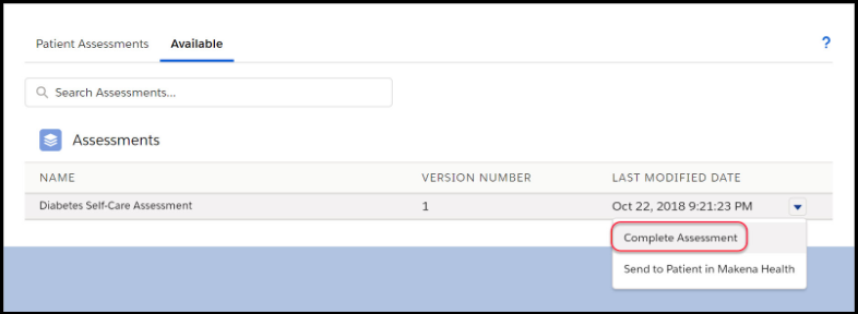 Complete a patient assessment in Salesforce on behalf of someone else