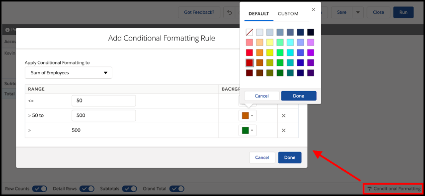 Conditional formatting in Lightning reports
