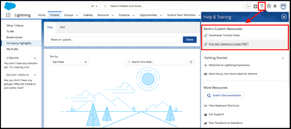 Custom resources in Salesforce Help & Training