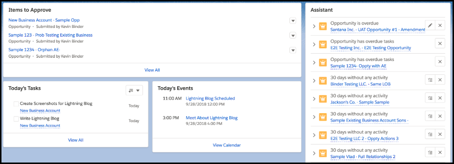 Salesforce Lightning home page reminders