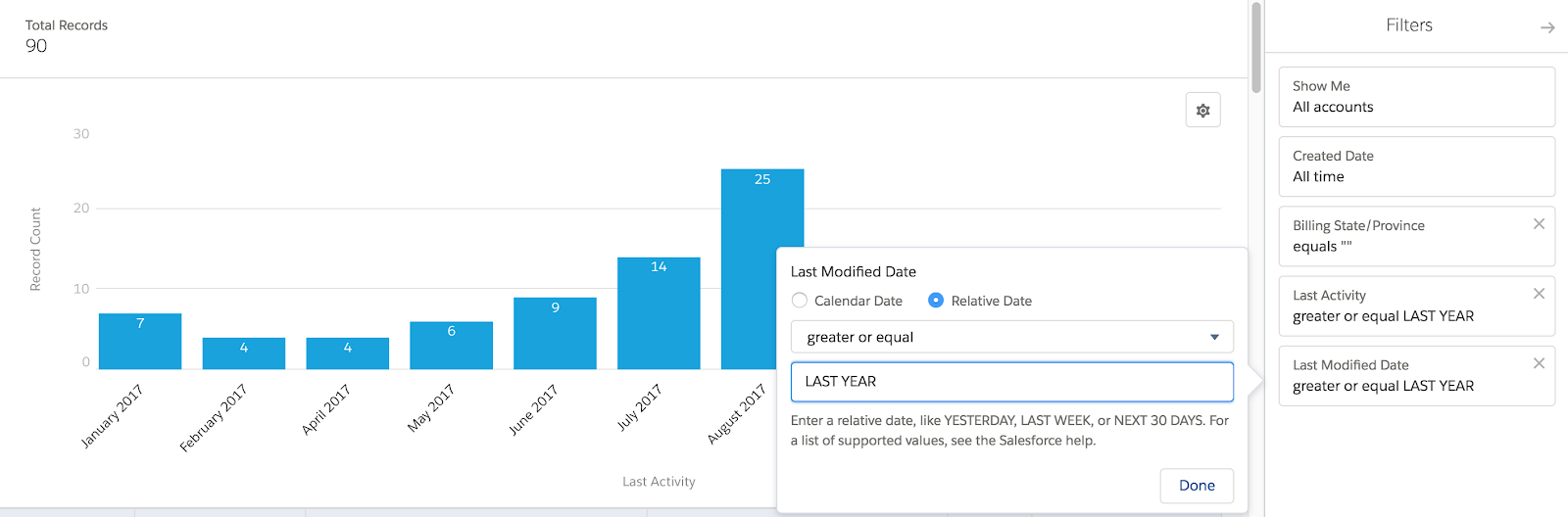 Salesforce relative date filters