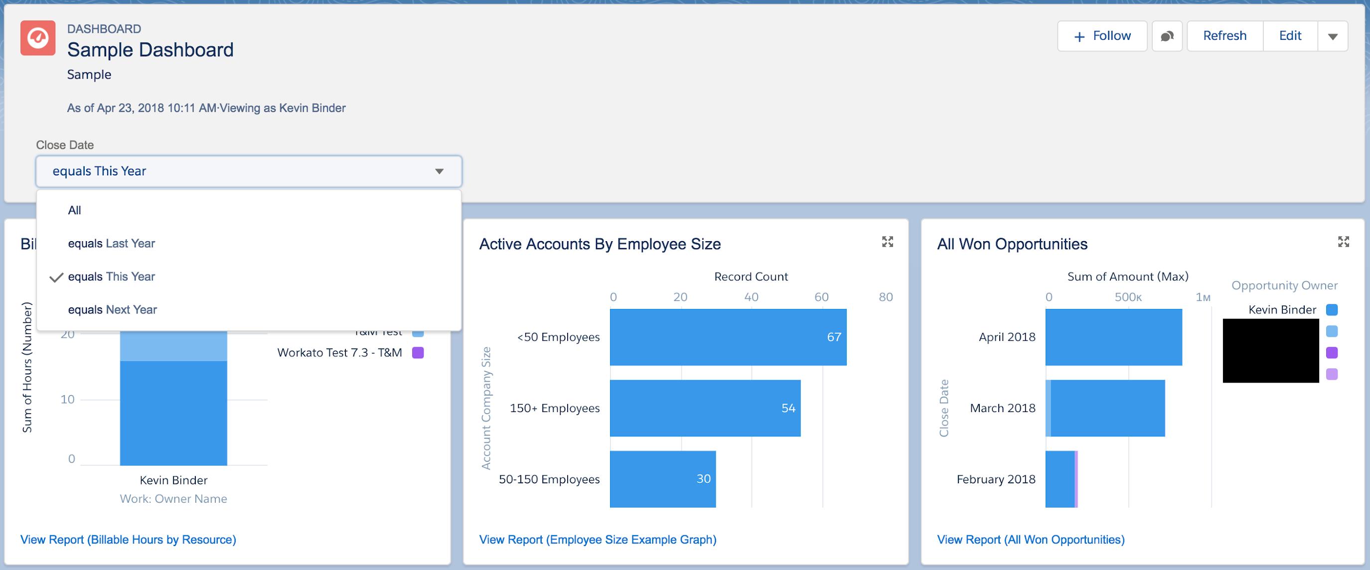 Using a Salesforce Dashboard filter