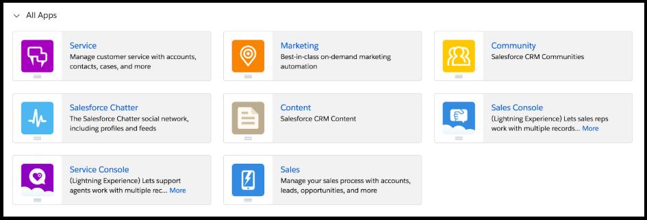 Salesforce App Menu