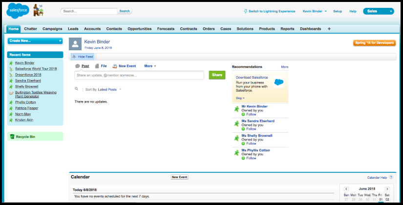 Salesforce Classic Interface